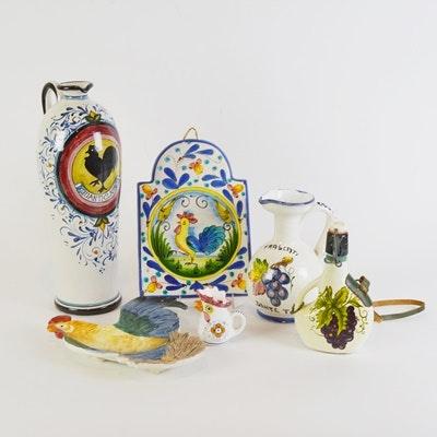 Italian Rooster Theme Ceramic Decor Including Fitz & Floyd