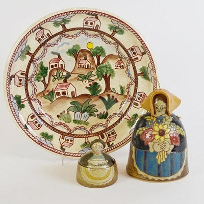 Art Pottery Plate, Bell & Mustard Container