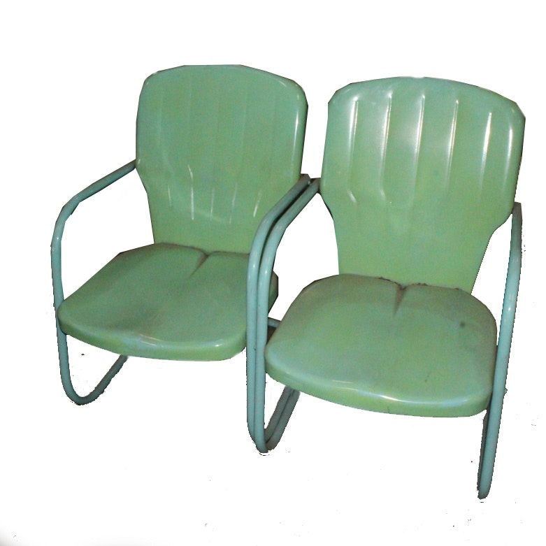 Pair of Vintage Thunderbird Style Lawn Chairs