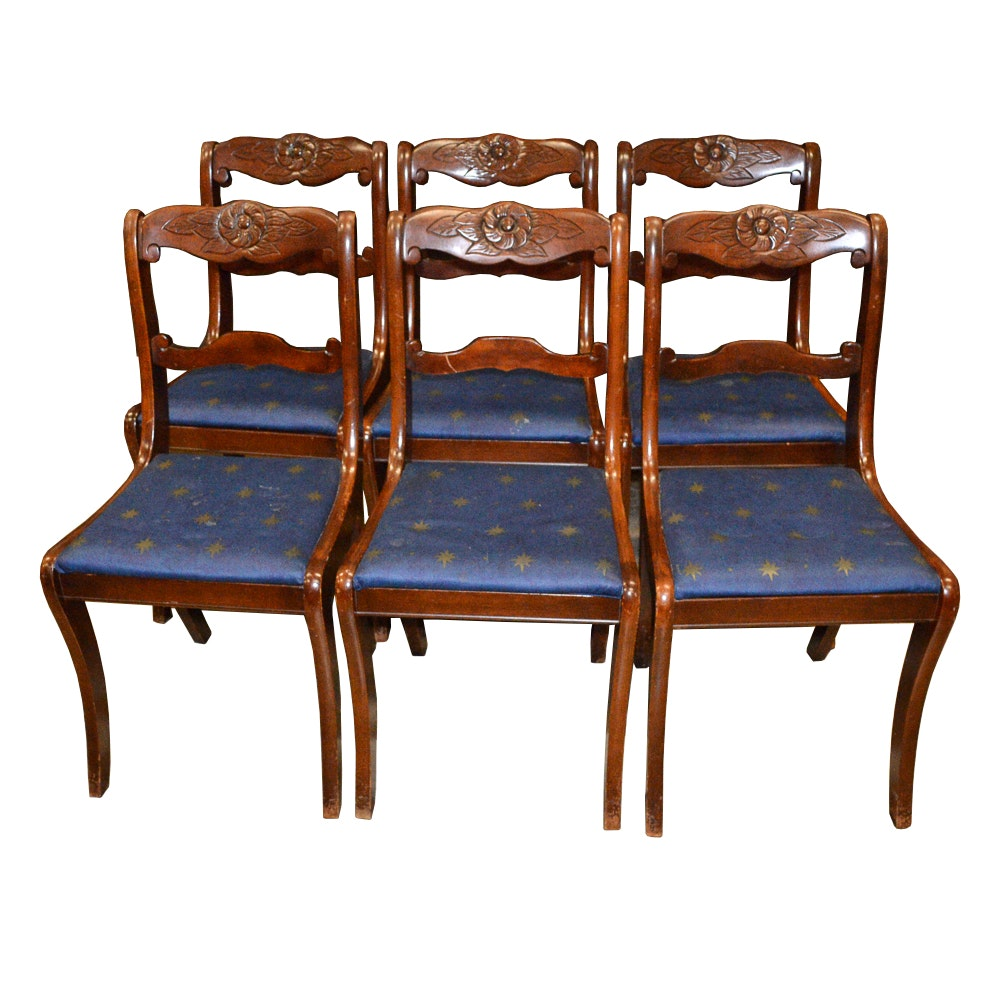 Six Floral Carved Dining Chairs