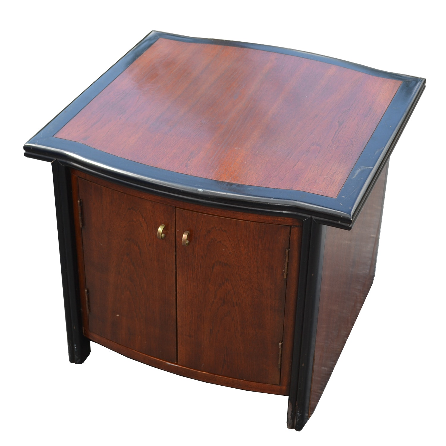Bow Front Two-Tone Wooden Storage Cabinet
