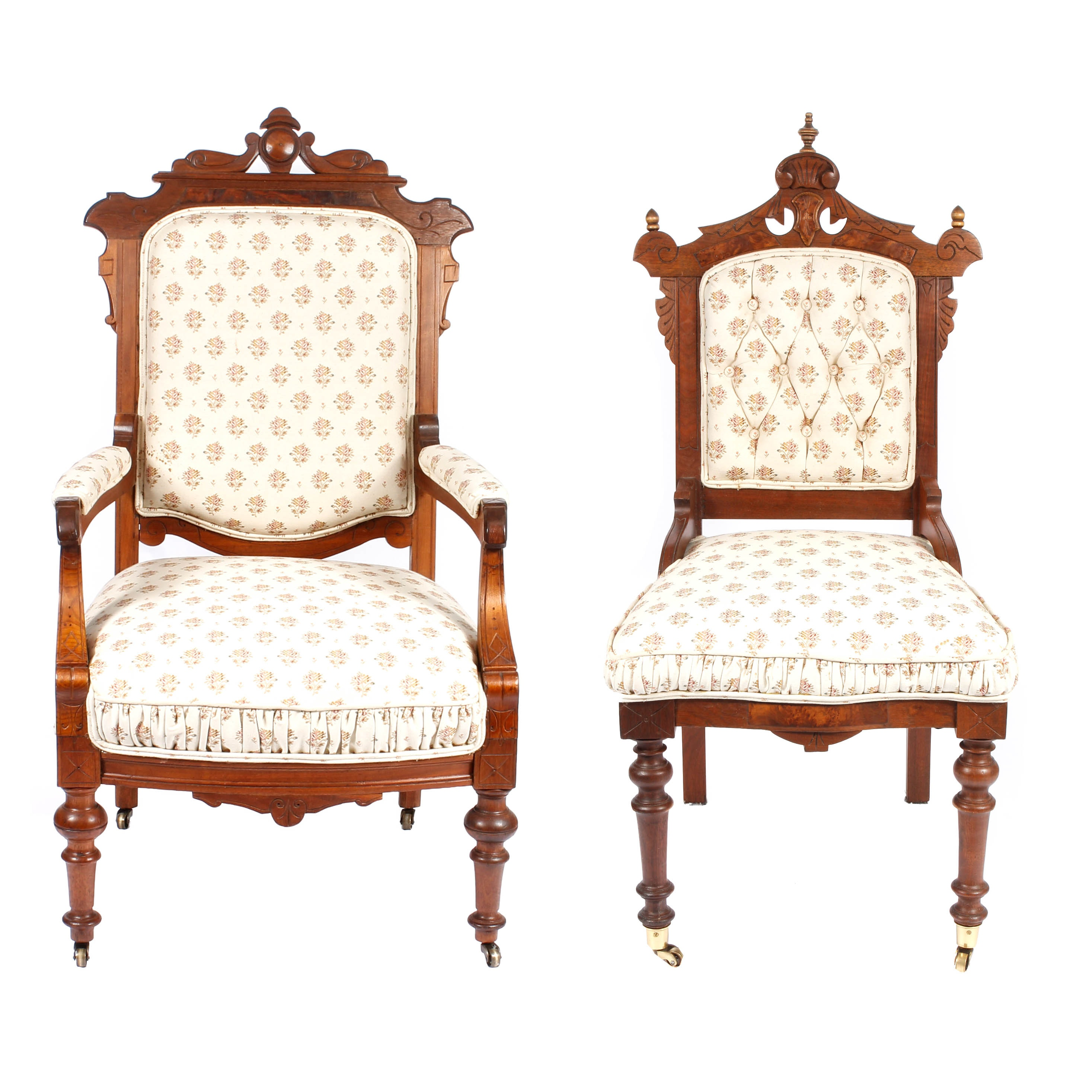 Antique Victorian Upholstered Walnut Chairs