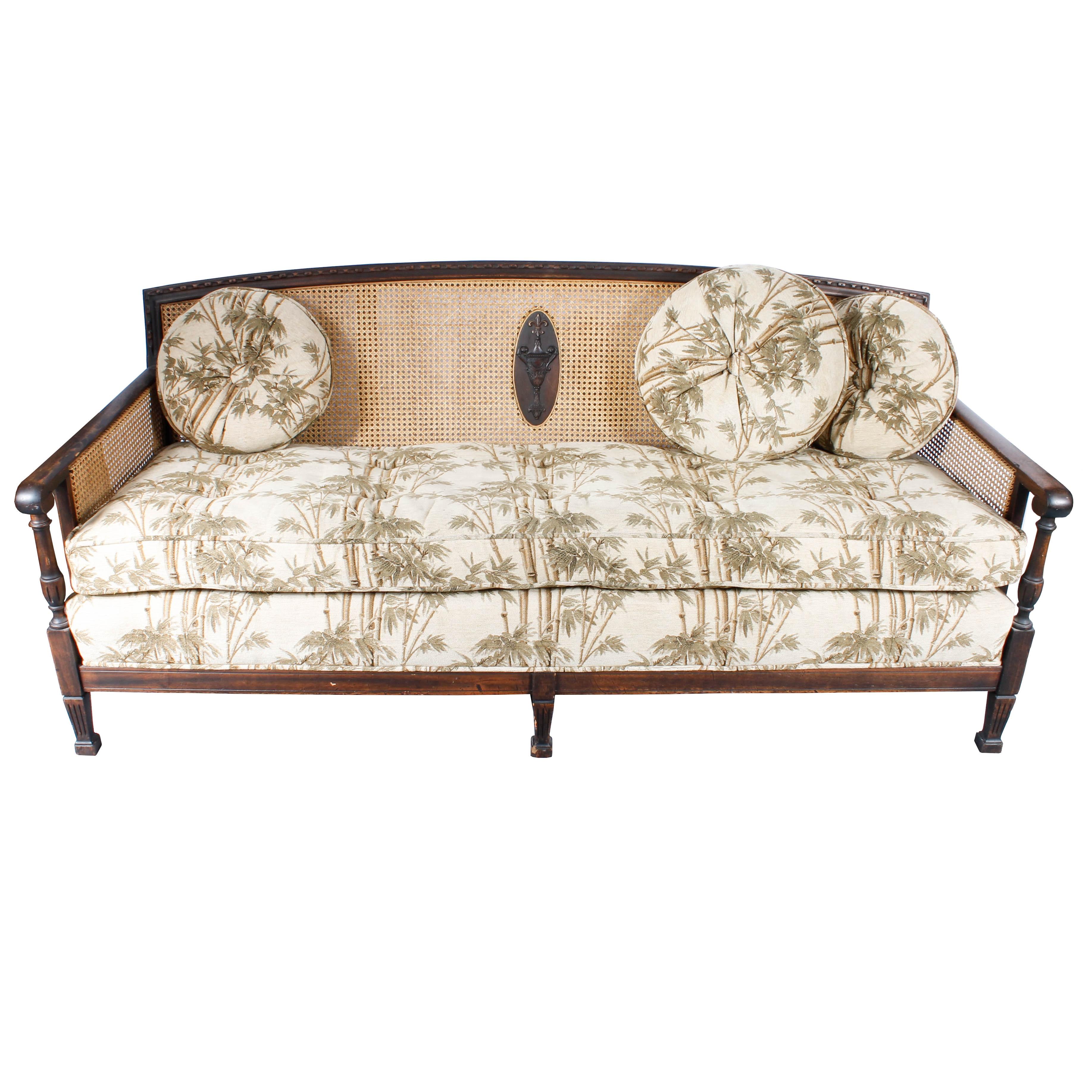 Vintage Plantation Style Caned And Upholstered Sofa ...