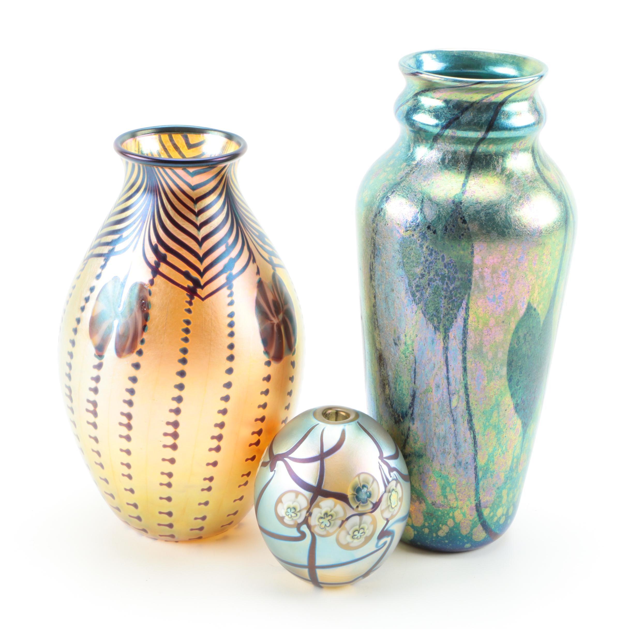 Vintage Iridescent Art Glass Vases Including Orient & Flume and Robert Eickholt