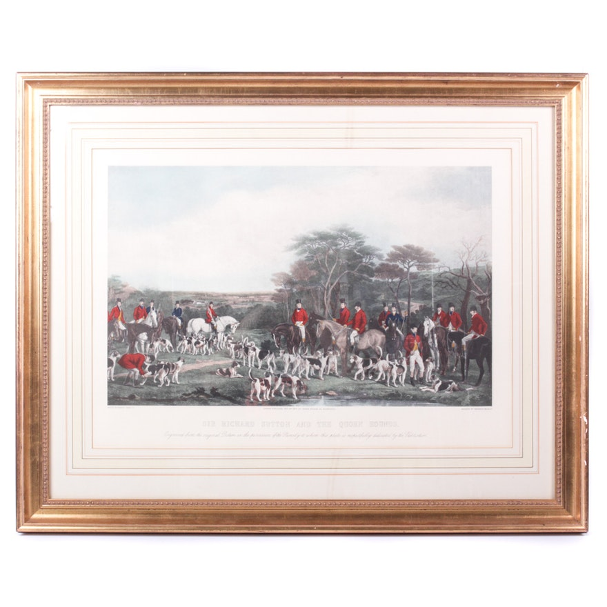 Fox Hunt Offset Lithograph after Engraving by Francis Grant