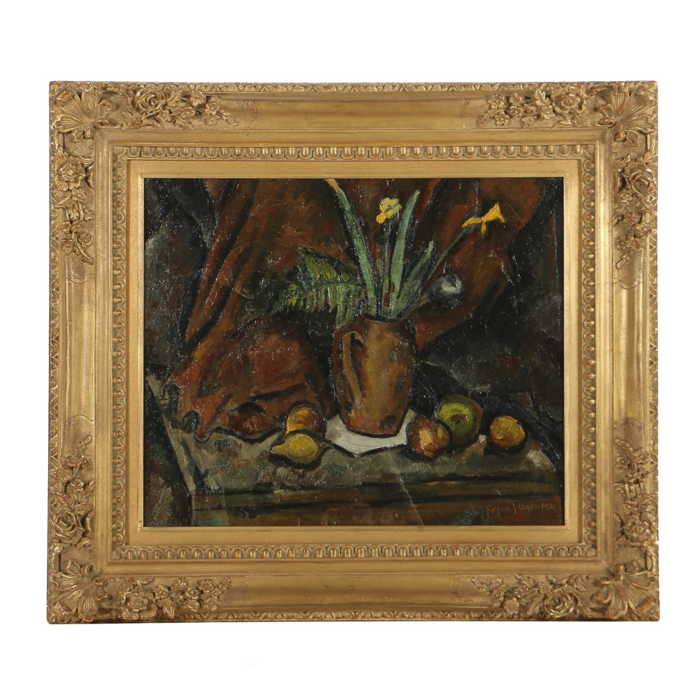 Edgar Yaegar Oil Painting on Canvas Still Life with Lemons