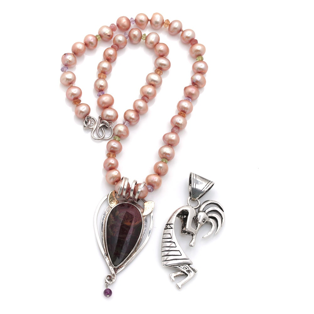 Sterling Silver Gemstone and Pearl Yei Jewelry With Glenn Sandoval Kokopelli