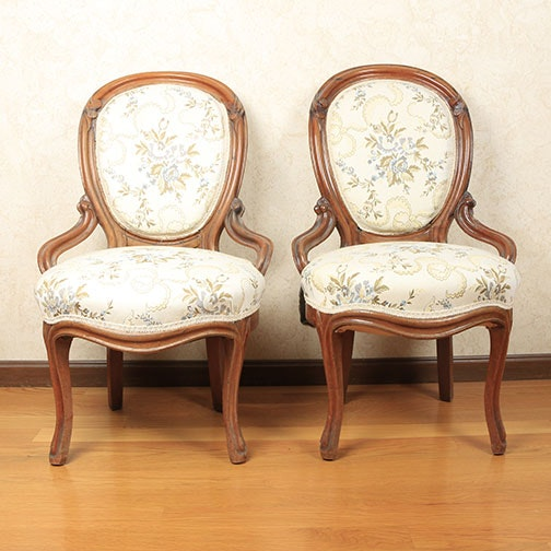 Provincial Style Balloon Back Upholstered Side Chairs