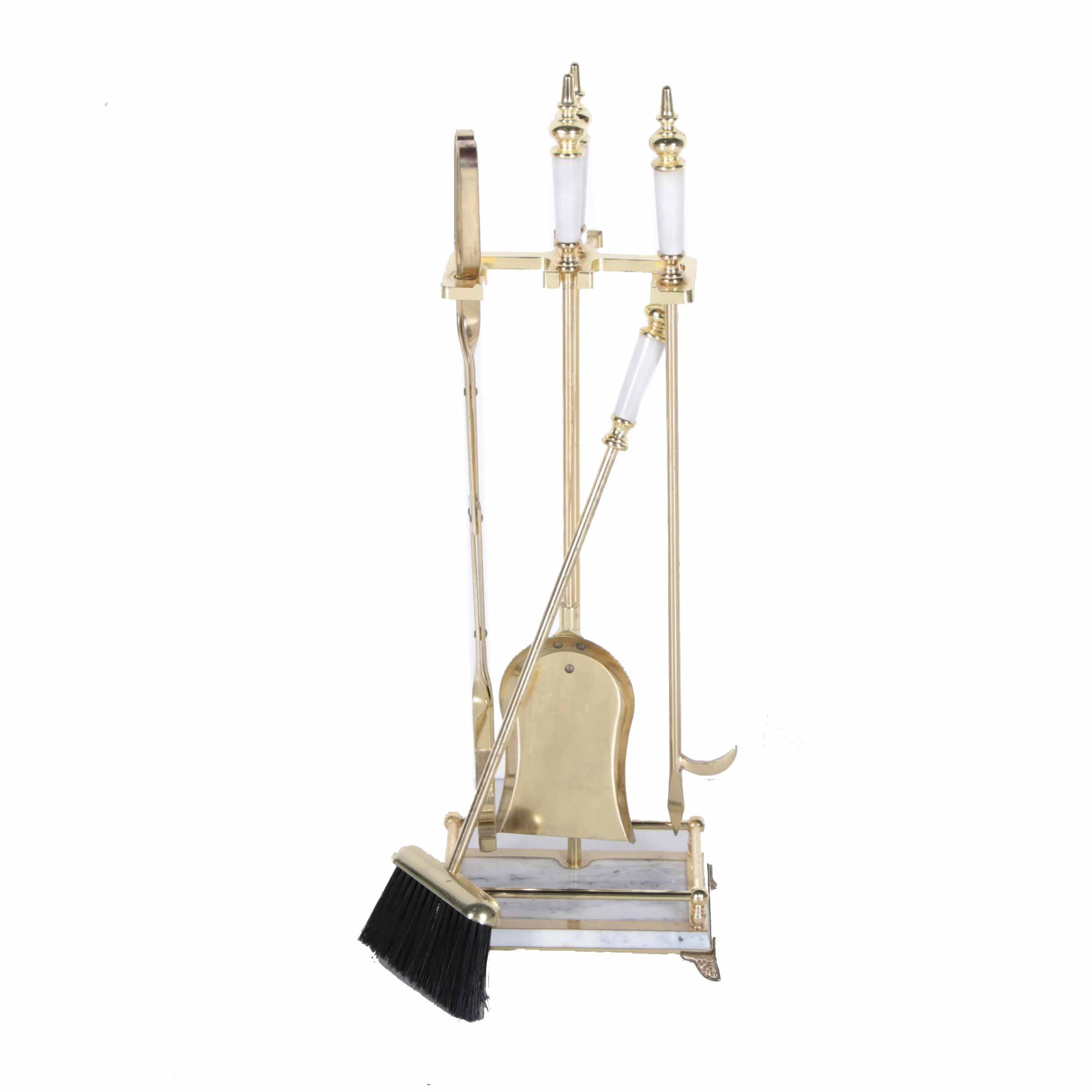 brass and marble fireplace tool set ebth