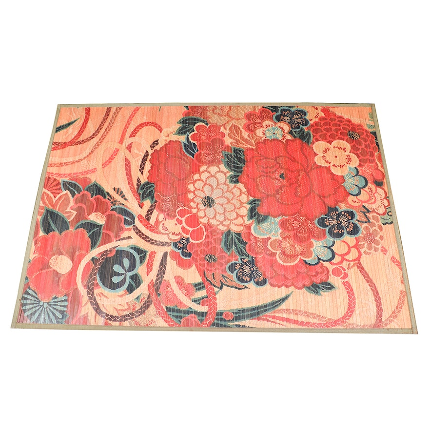 Fl Painted Bamboo Area Rug By Pier 1 Imports