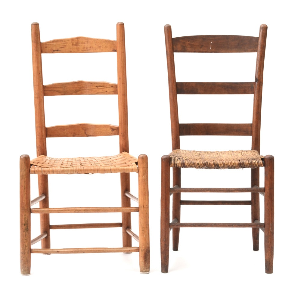 Pair of Vintage Side Chairs with Wicker Seats