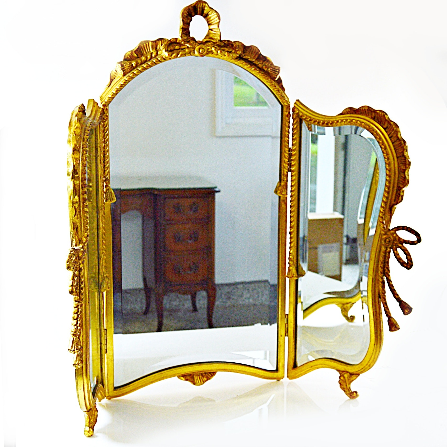 Gilded French Baroque Style Tri-Fold Beveled Vanity Mirror