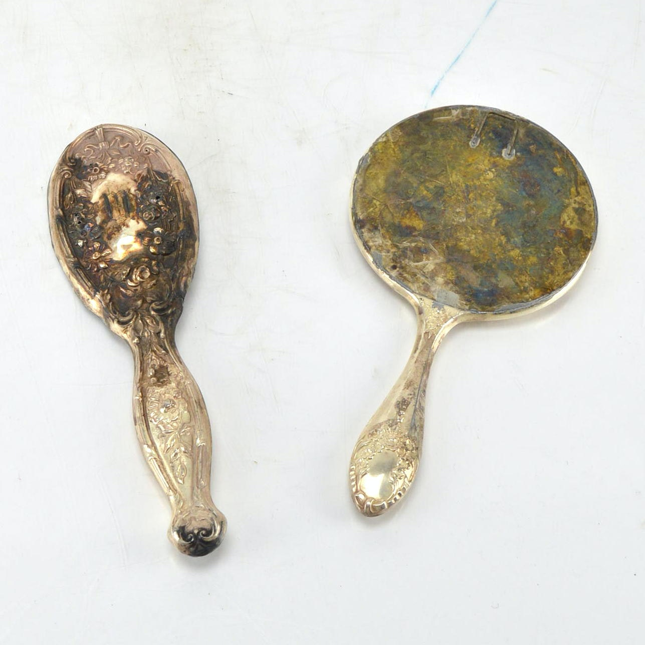 Vintage Weighted Sterling Hand Mirror and Hair Brush Handle