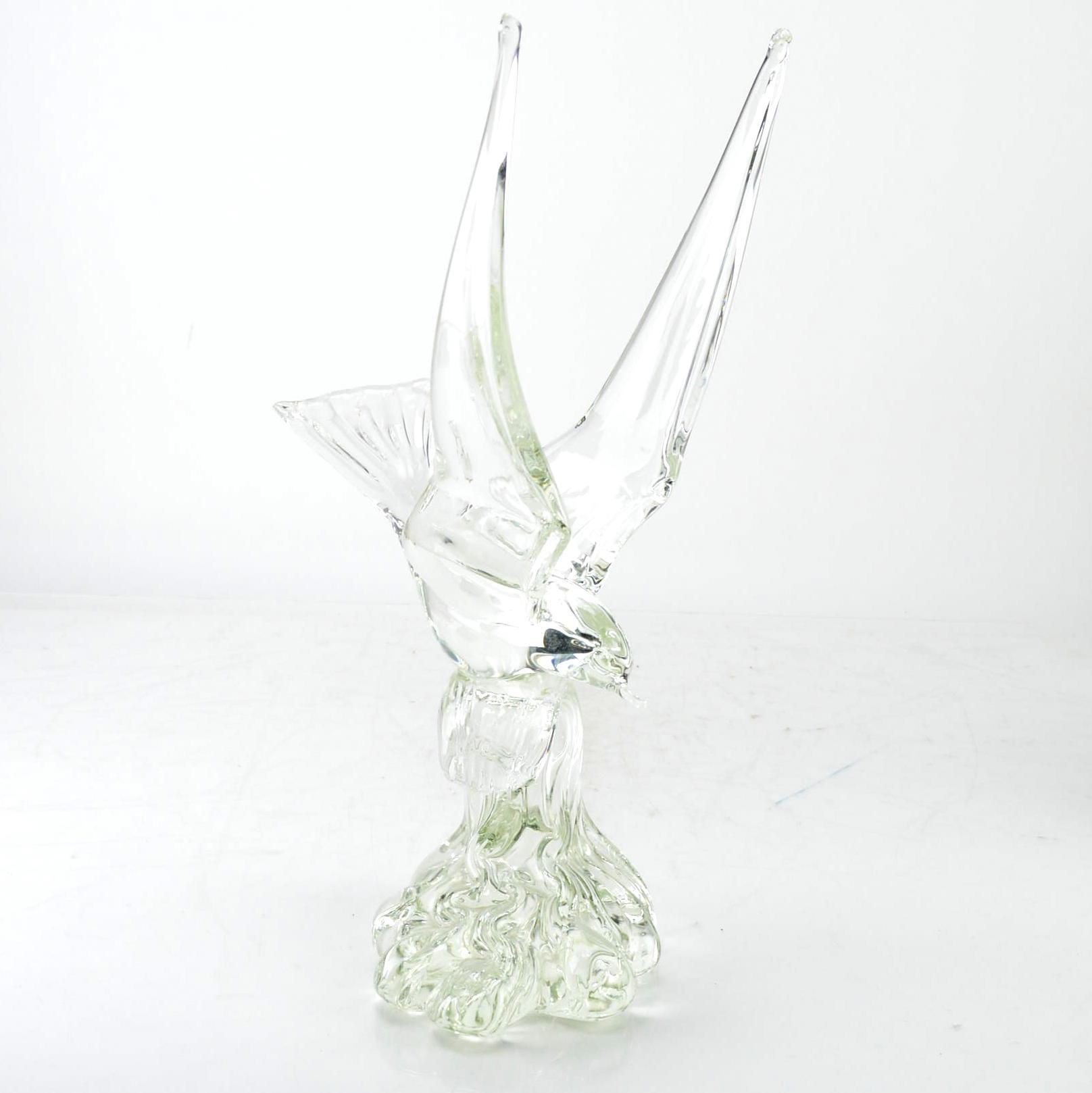 Murano Glass Bird on Wave Sculpture