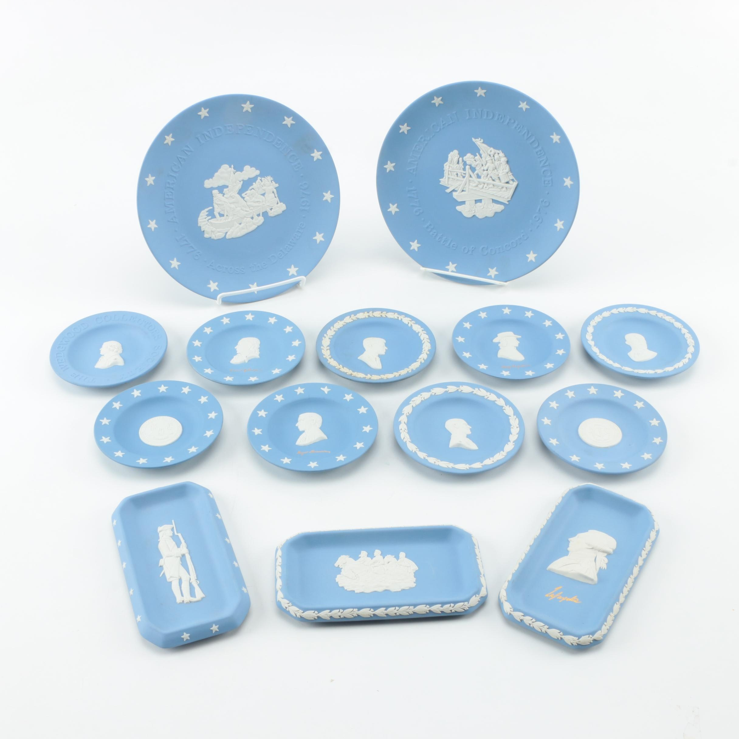 Collection of Wedgwood Blue Jasperware Plates and Trays