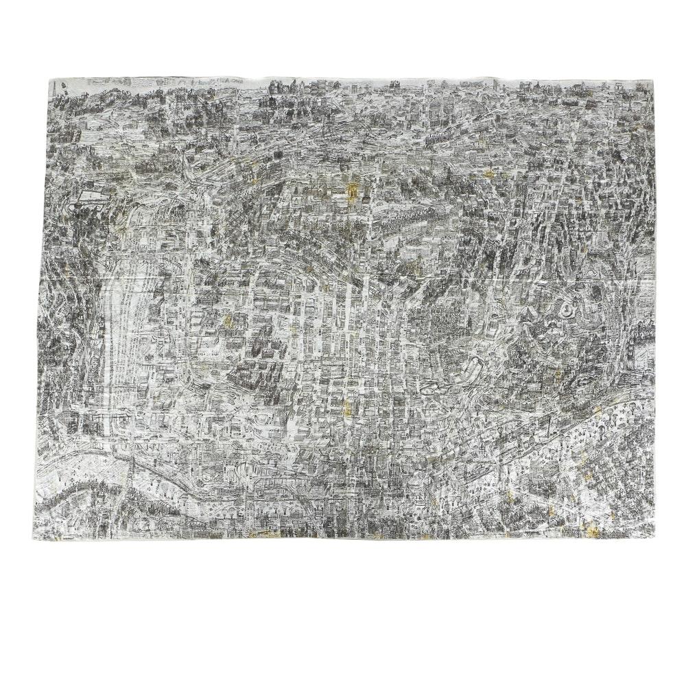 Courttney Cooper (Cincinnati, b. 1977) Ball Point Pen Map on Pieced Found Paper