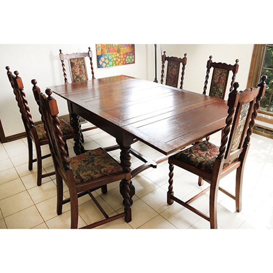 Spanish Revival Style Dining Table And Six Chairs