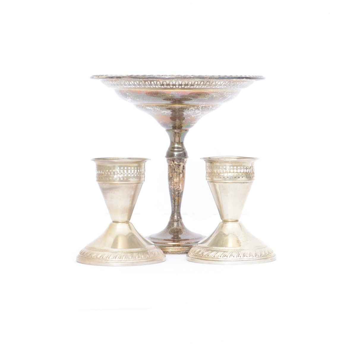 La Pierre Weighted Sterling Compote and Duchin Creation Candlesticks