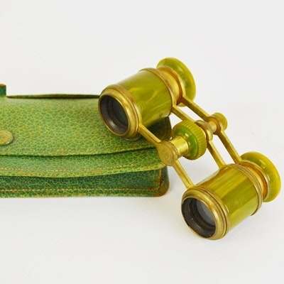 Vintage Marbled Green Opera Glasses