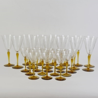Amber-Brown Stem Etched Wine and Cordial Glass Collection