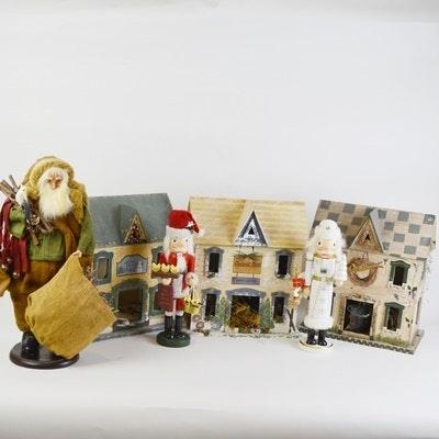 Christmas Village Houses, Santa and Nutcracker Decor