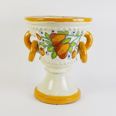 Mexican Painted Pottery Pedestal Planter