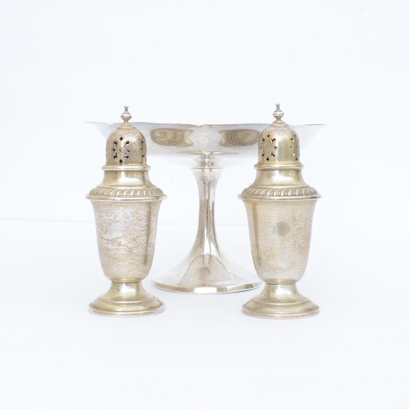 Gorham Sterling Silver Salt and Pepper Shaker and a Manchester Pedestal Bowl