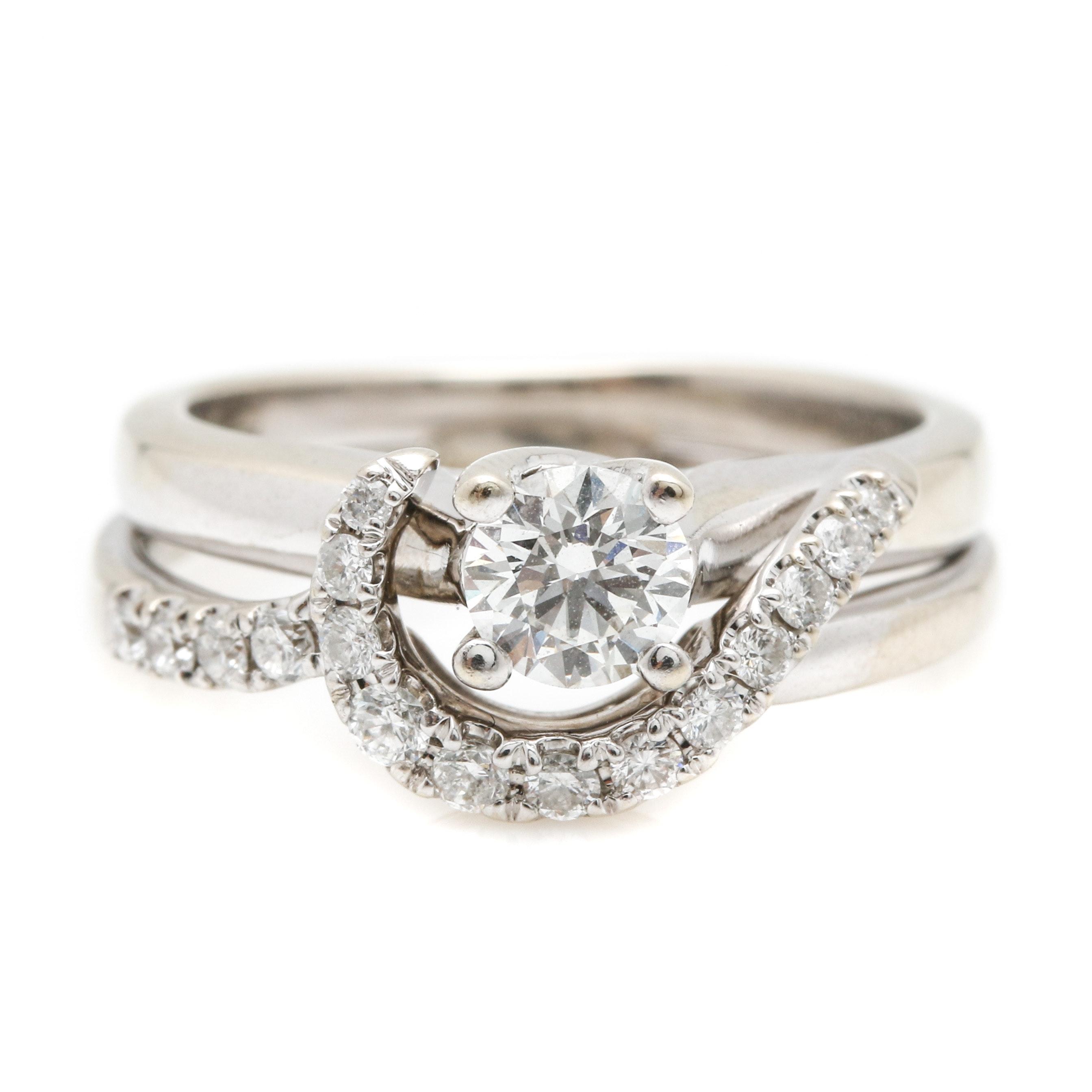 18k white gold helzberg engagement ring with 14k