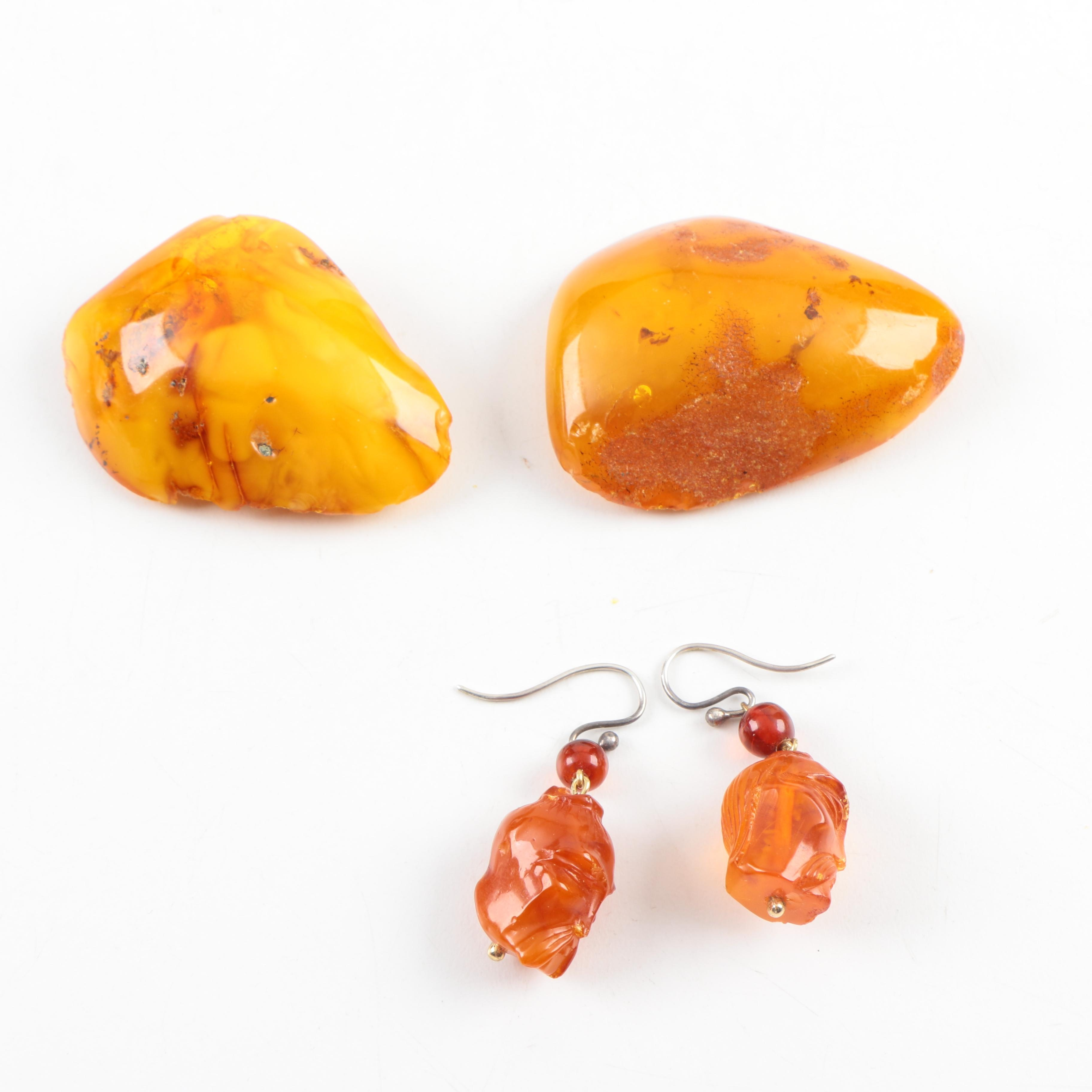 Mutton Fat Amber Pieces and Chinese Carved Amber Earrings