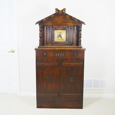 Rare Romweber Viking Oak Court Cupboard/Bar Cabinet