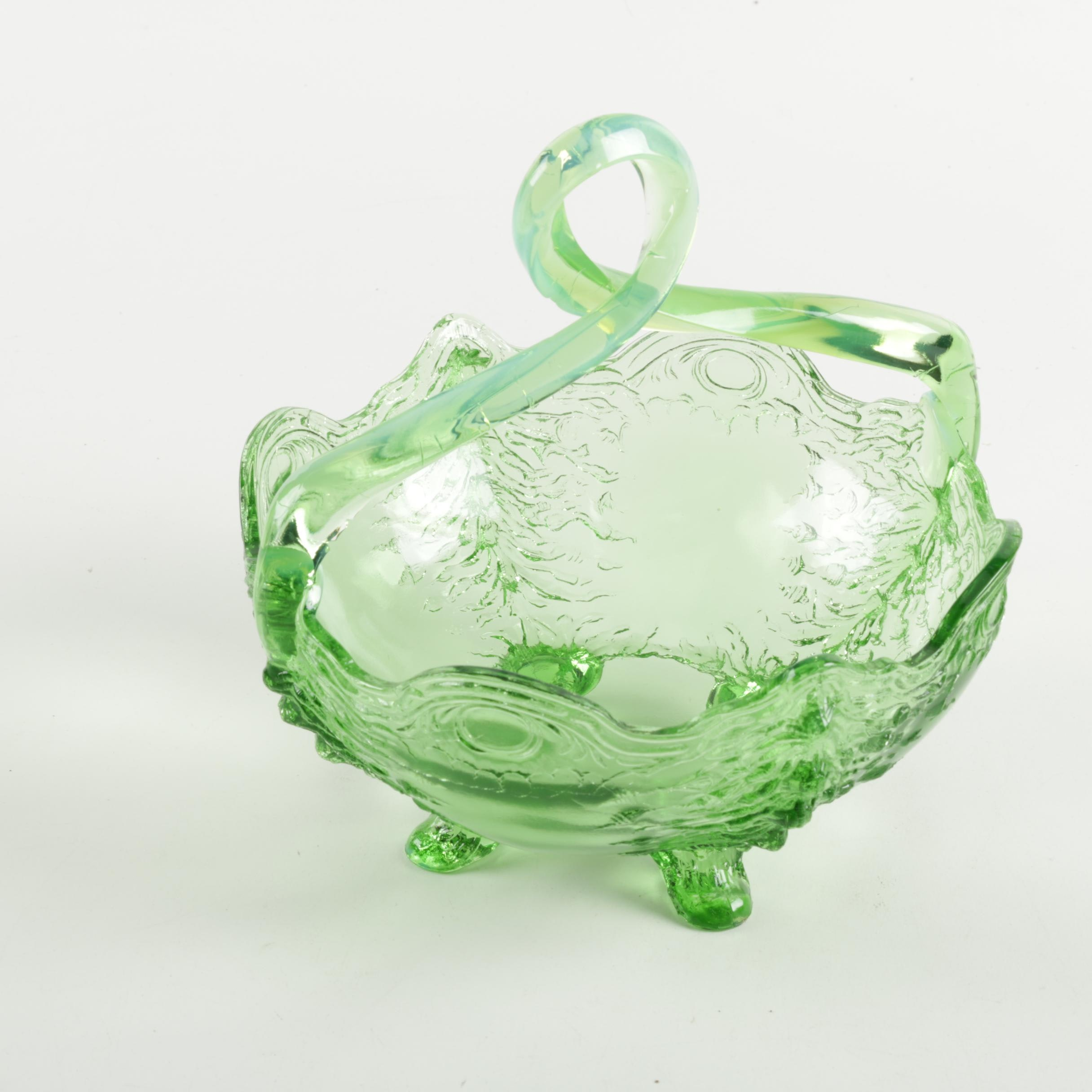 "Antique Jefferson Glass ""Old Man Winter"" Green Bowl"