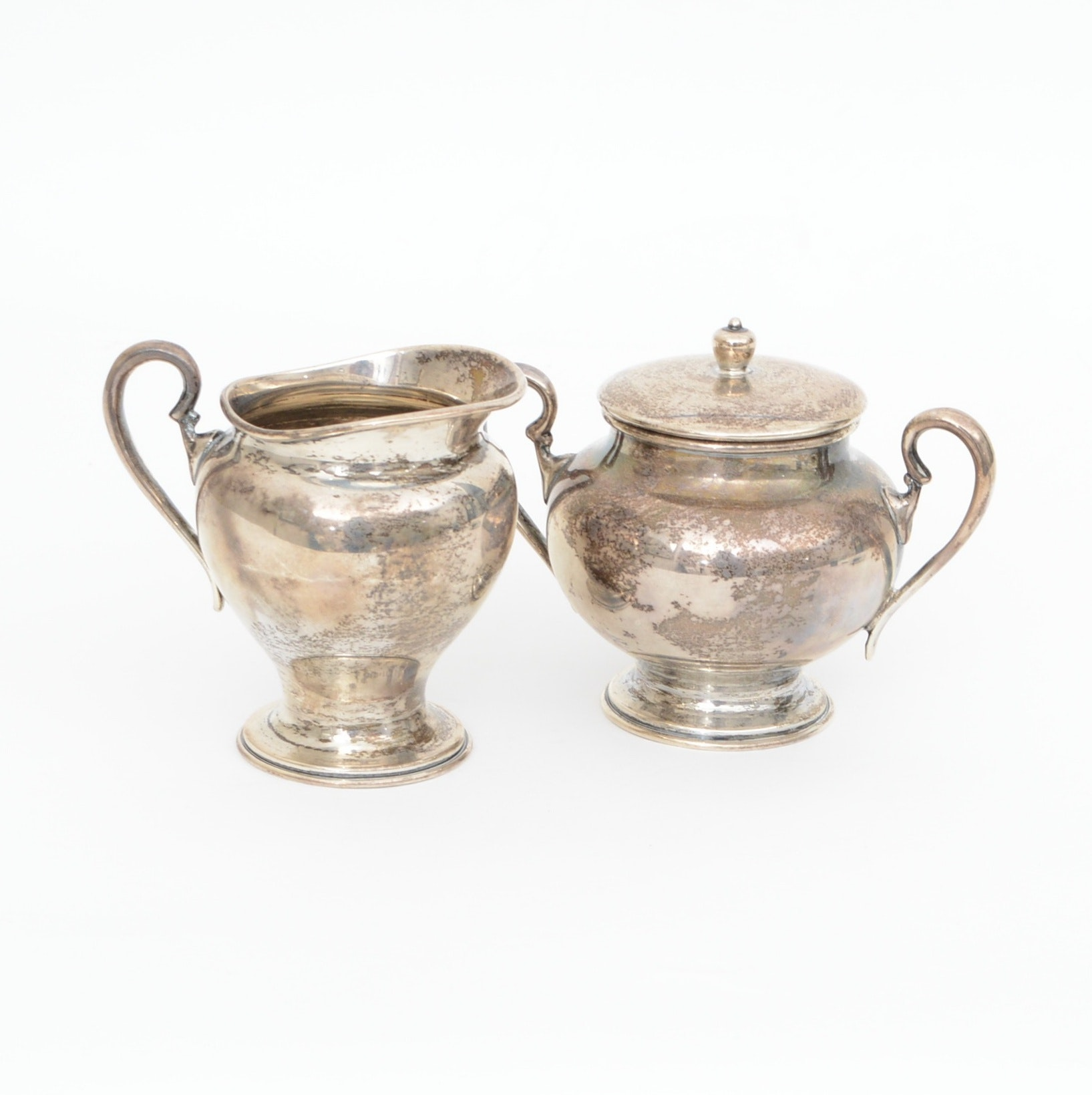 Mexico Weighted Sterling Creamer and Sugar Set