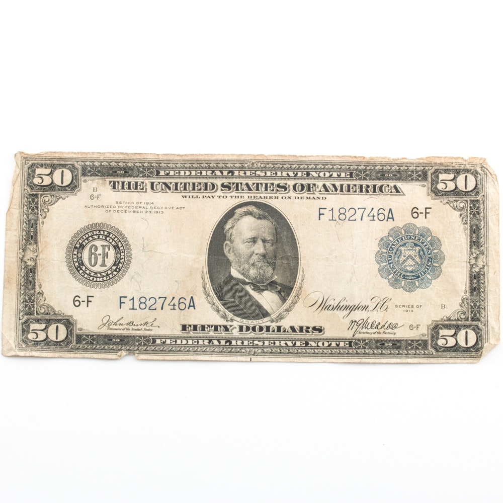 Series of 1914 $50 Blue Seal Federal Reserve Note