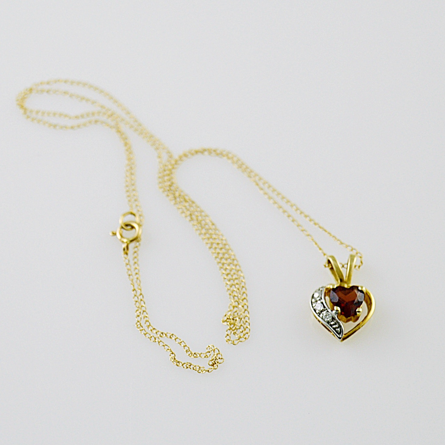 14K Gold, Diamond and Garnet Heart Pendant Necklace