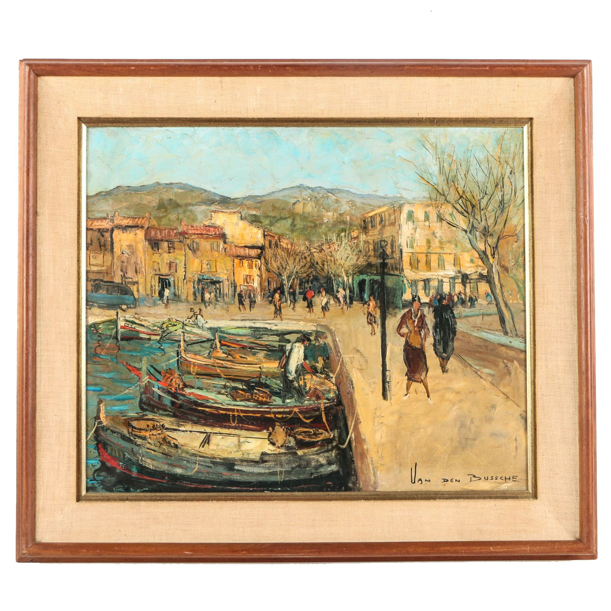 """Jacques Van den Bussche Oil on Canvas Painting """"Port de Cassis"""""""