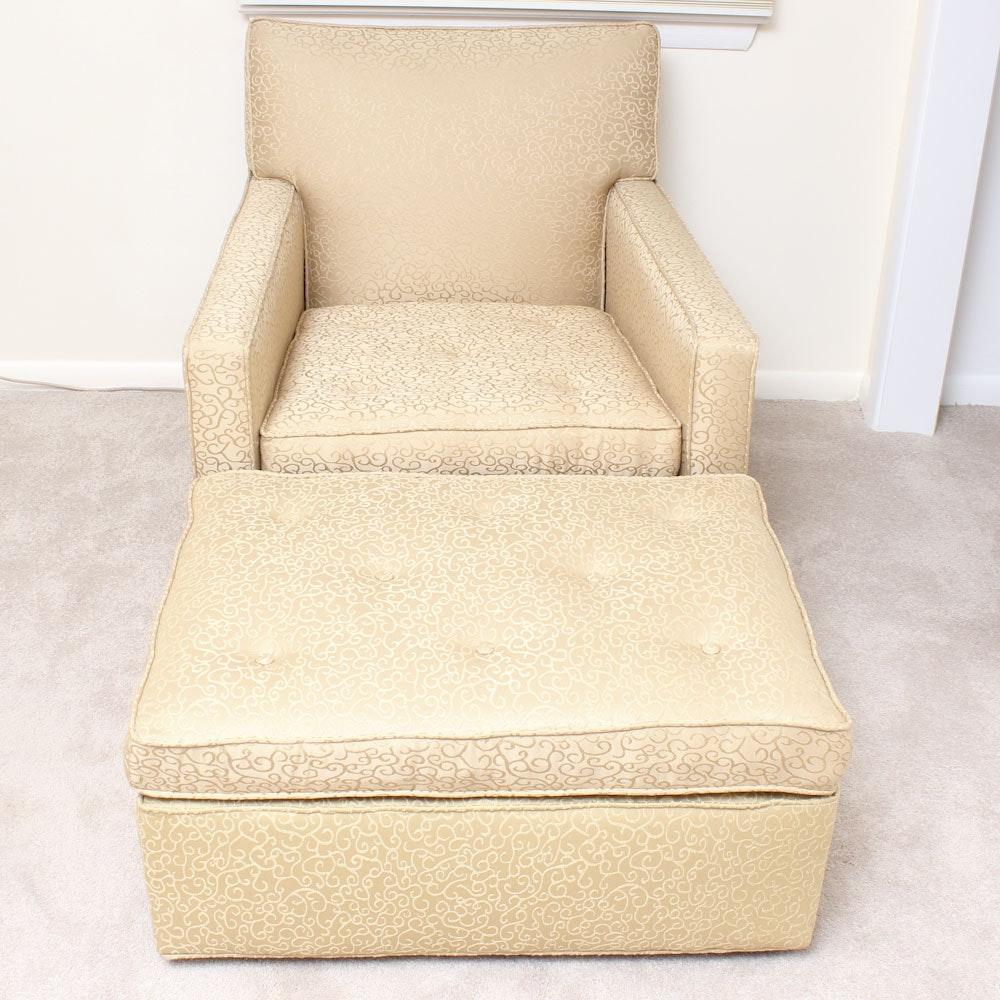 Cream Hued Armchair and Ottoman