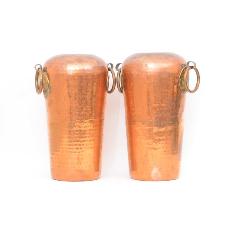 Pair of Hammered Copper Floor Vases
