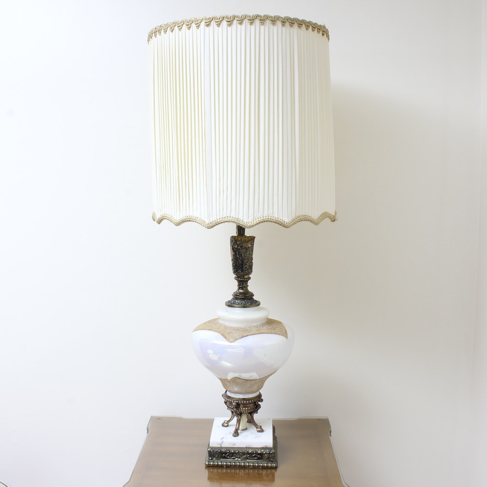 Bronze Tone and Porcelain Urn Pedestal Table Lamp with Shade
