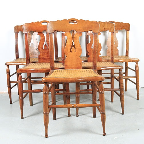 Set of Six Tiger Maple and Rattan Dining Chairs