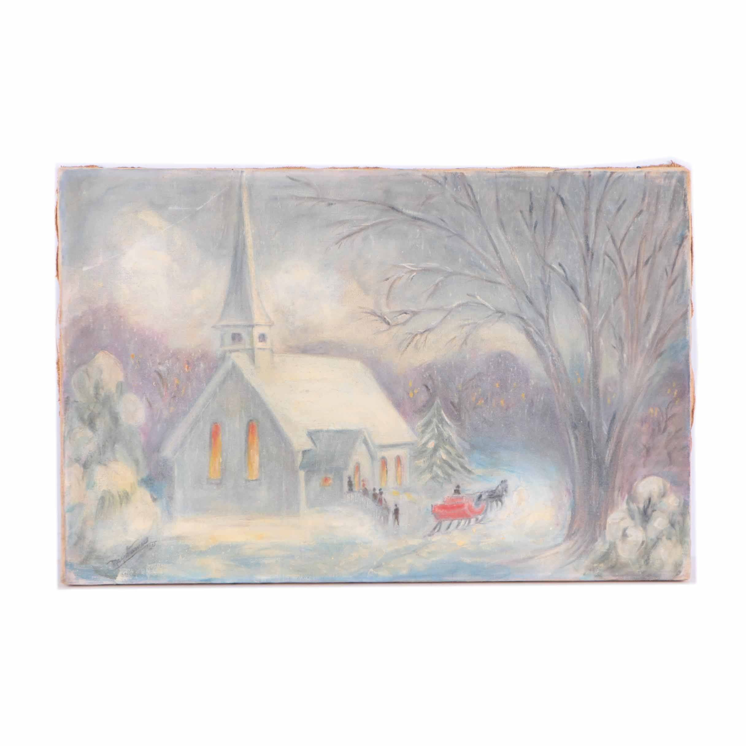May Starnes 1960 Oil Painting on Canvas of Winter Scene with Church and Sleigh