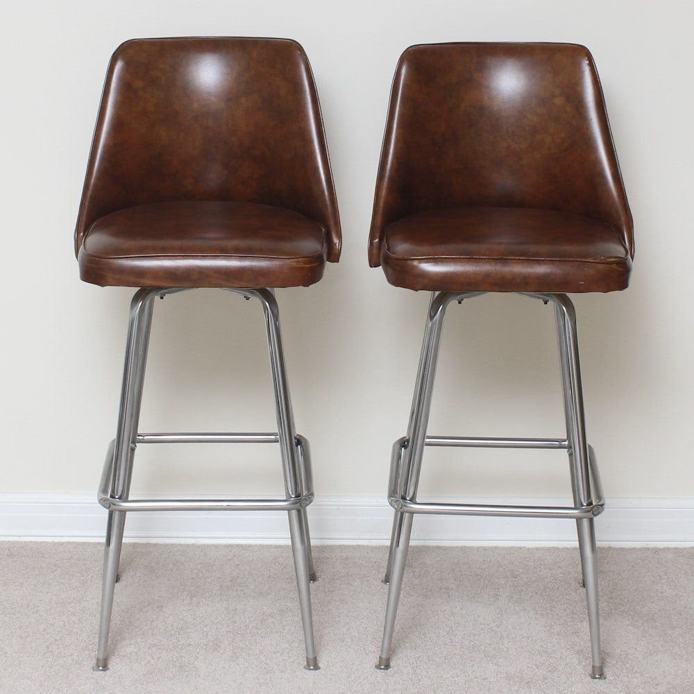 Pair of Leather Barstools