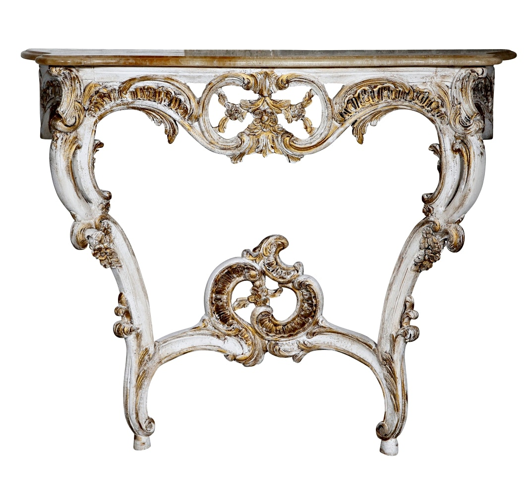 Louis XV Style Oak and Onyx Console