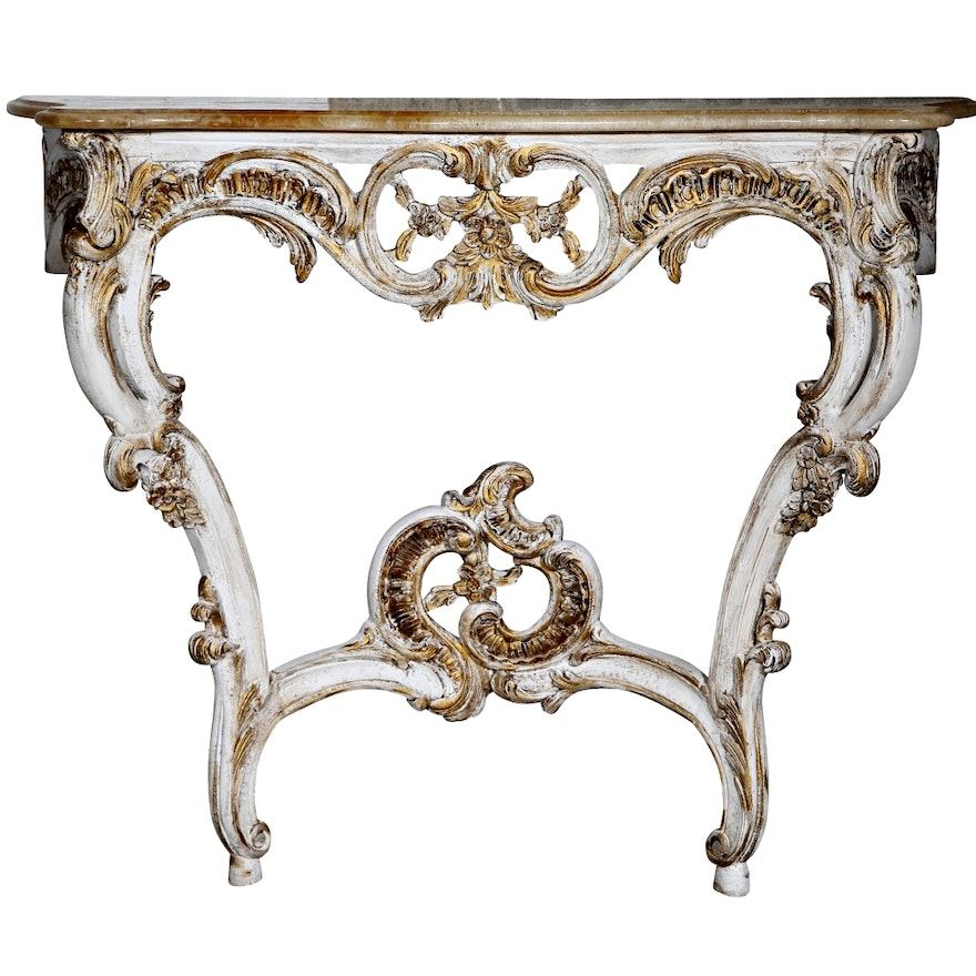 Louis XV Style Oak and Onyx Console : EBTH