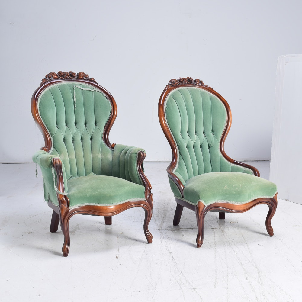 Vintage Victorian Style Upholstered Chairs