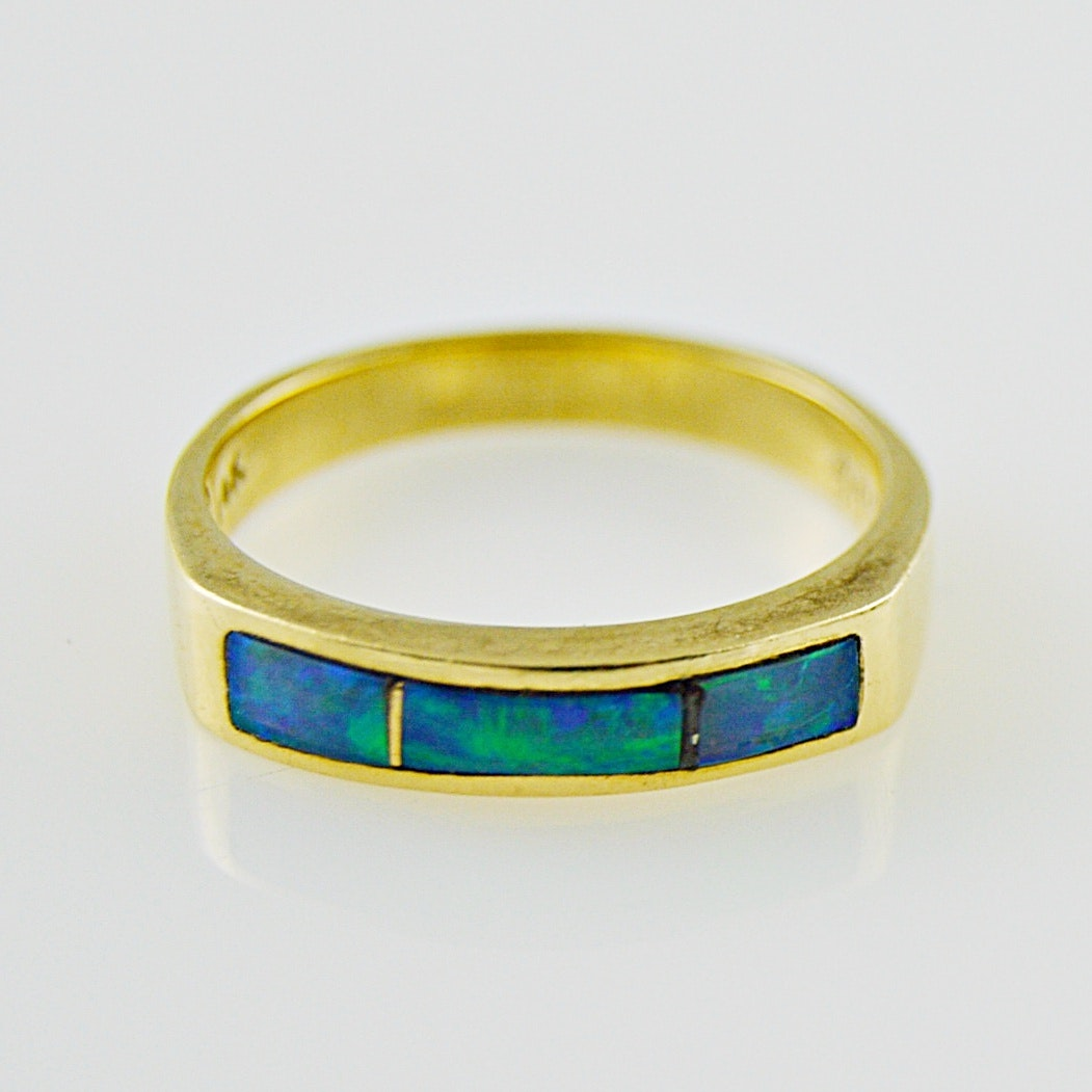 14K Gold and Inlaid Opal Doublet Ring