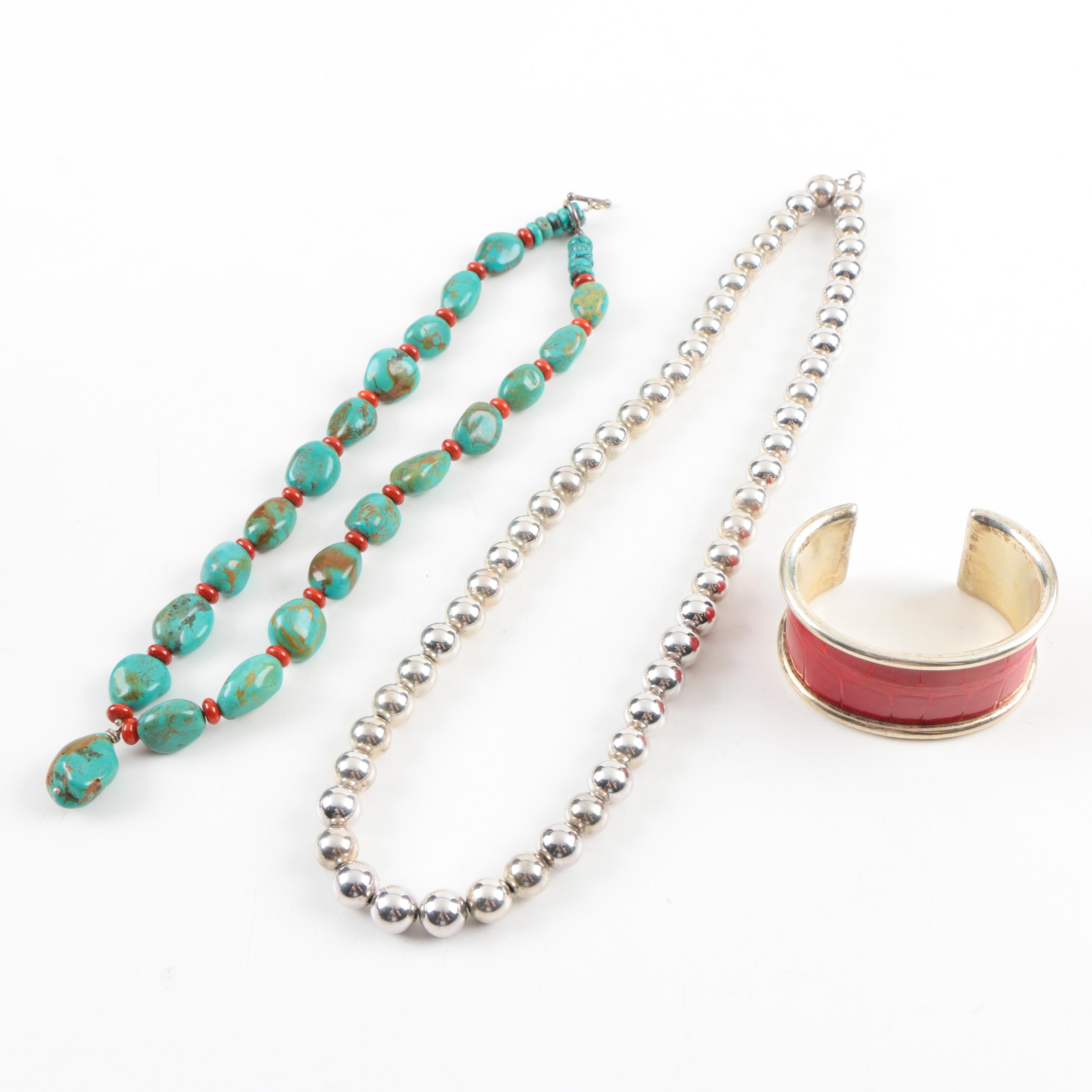 Sterling Silver Beaded Necklaces and a Bracelet