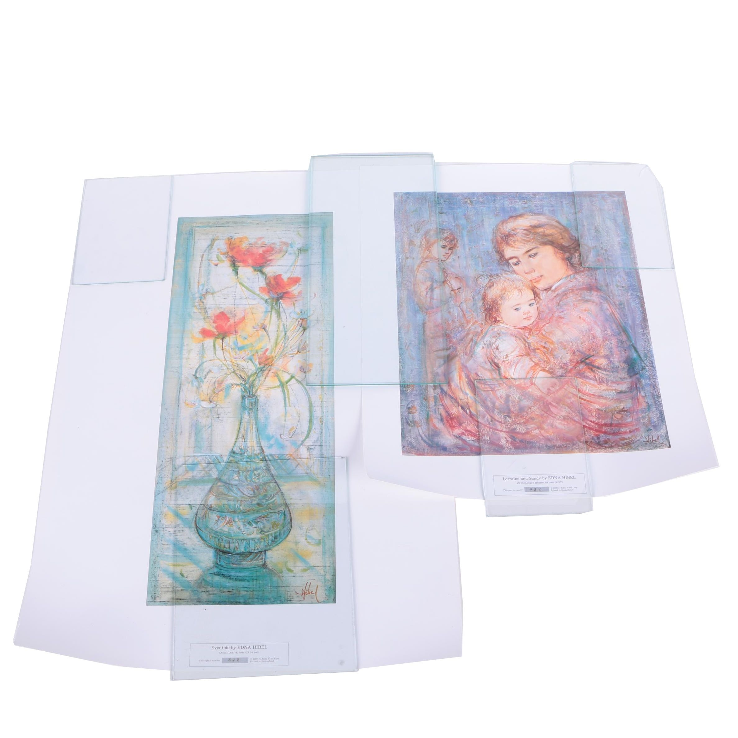 Two 1990 Limited Edition Offset Lithographs After Images by Edna Hibel Plotkin