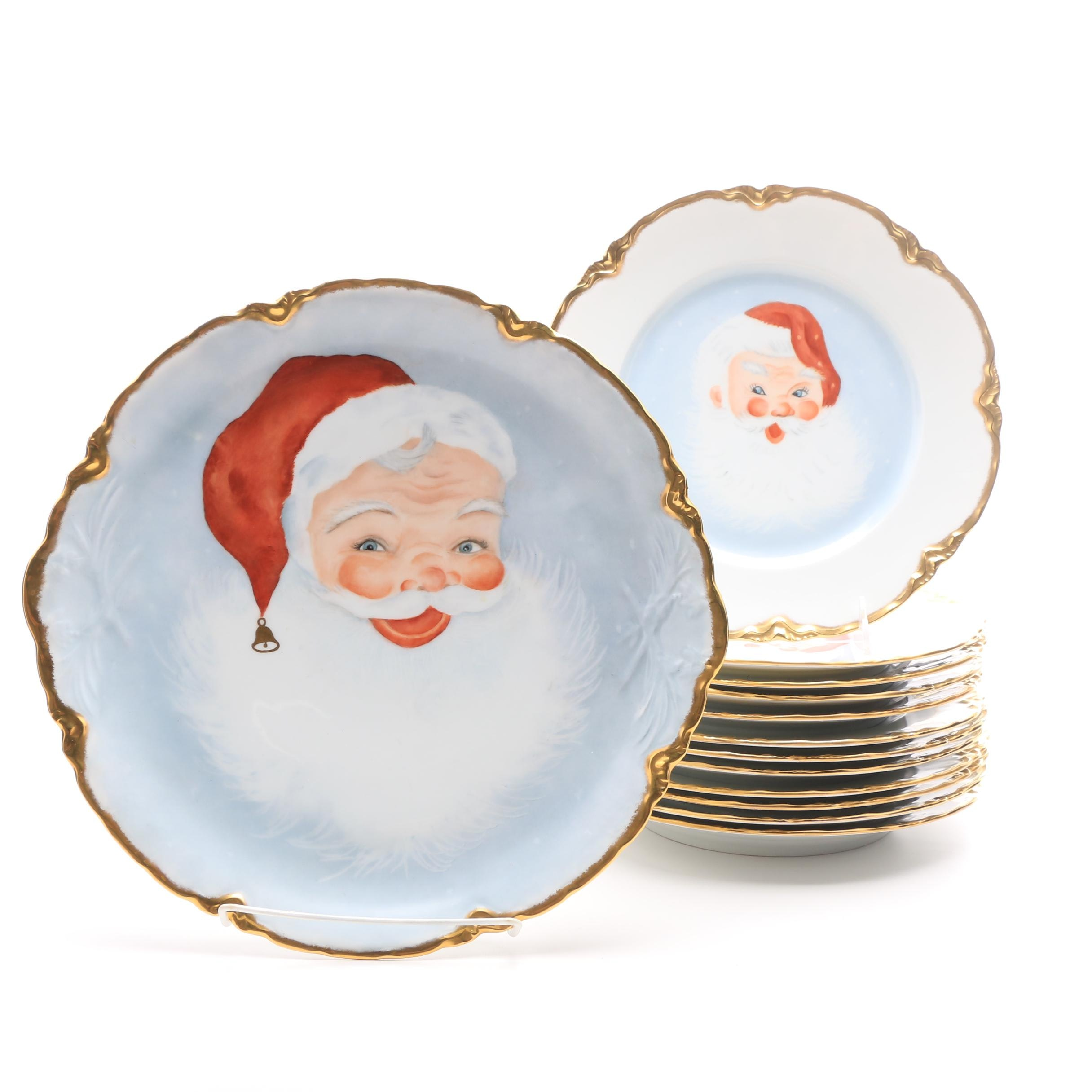 Vintage Huthschenreuther Plates Hand Painted by Artists with Faces of Santa