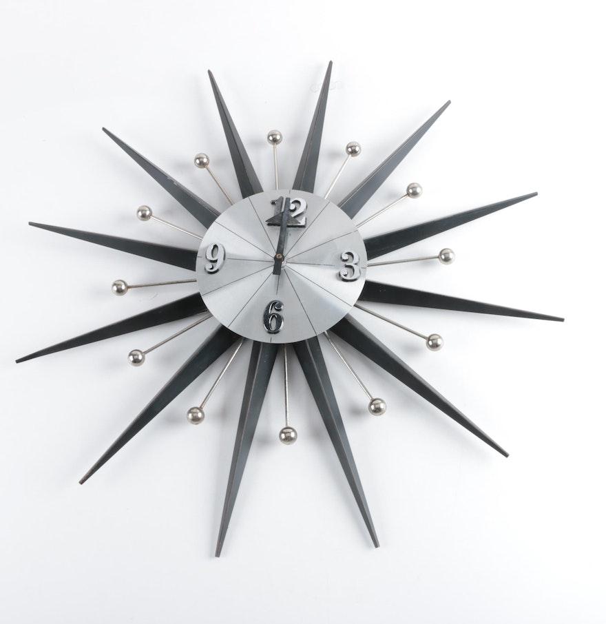 Mid Century Modern Starburst Wall Clock By Elgin