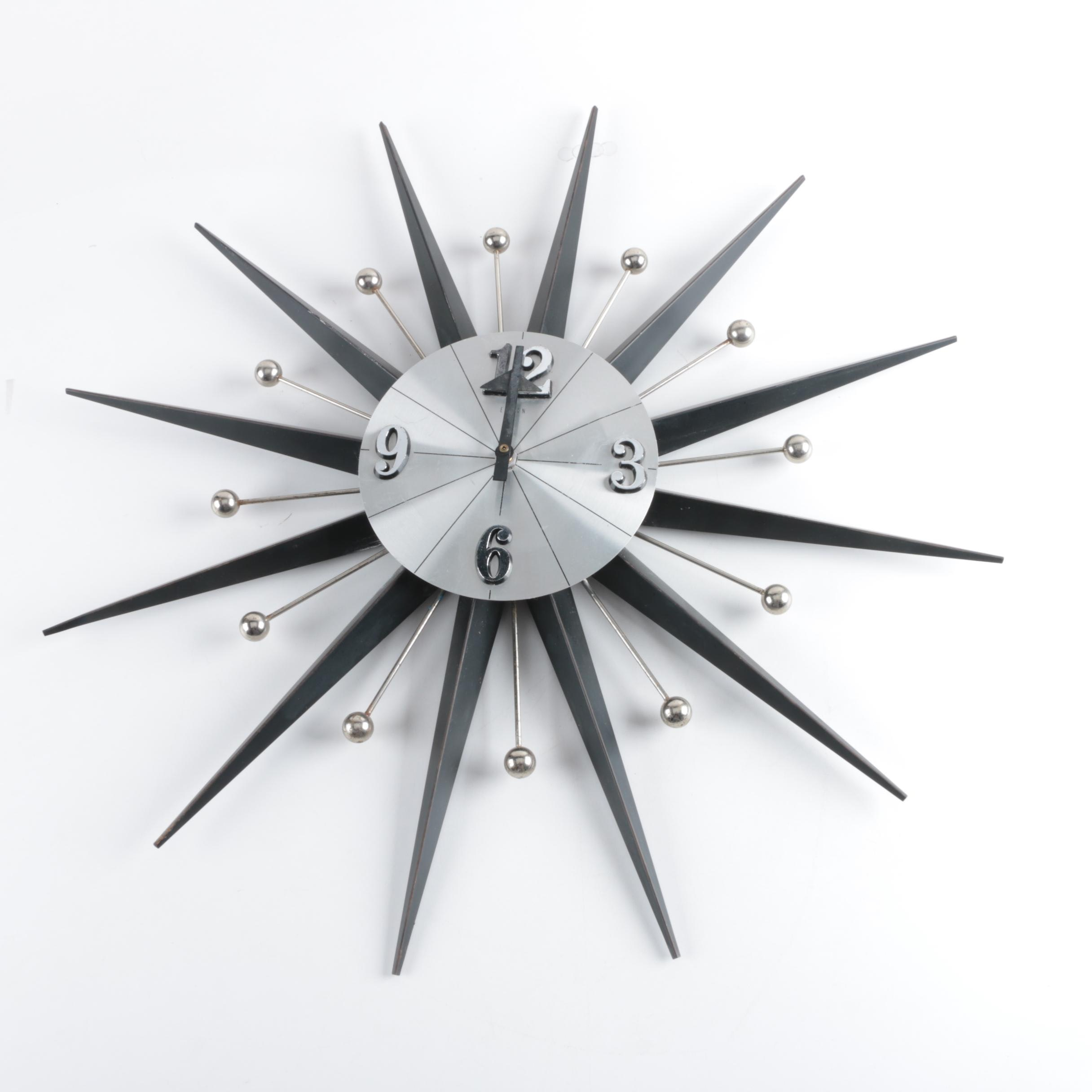 Mid Century Modern Starburst Wall Clock By Elgin